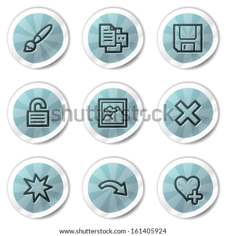 Image viewer web icons set 2, blue shine stickers series - stock vector