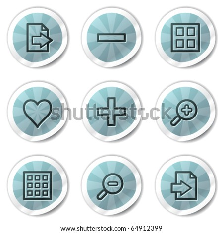Image viewer web icons set 1, blue shine stickers series - stock vector