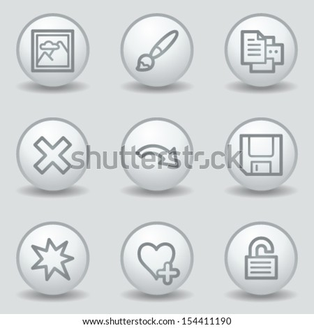 Image viewer web icons set 2, circle white matt buttons - stock vector