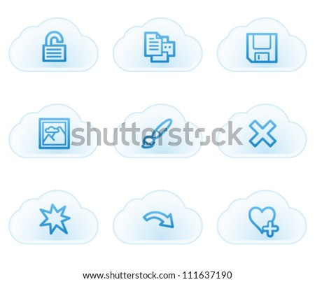 Image viewer web icons set 2, cloud buttons - stock vector