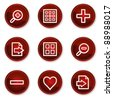 Image viewer web icons set 1, dark red circle buttons - stock vector