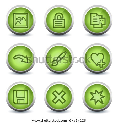 Image viewer web icons set 2, green glossy set - stock vector