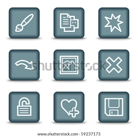 Image viewer web icons set 2, grey square buttons - stock vector