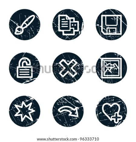 Image viewer web icons set 2, grunge circle buttons - stock vector