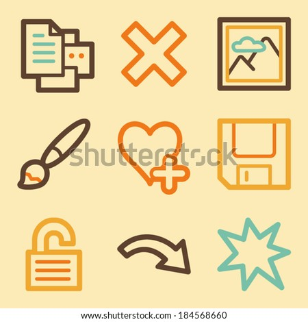 Image viewer web icons set in retro style  - stock vector