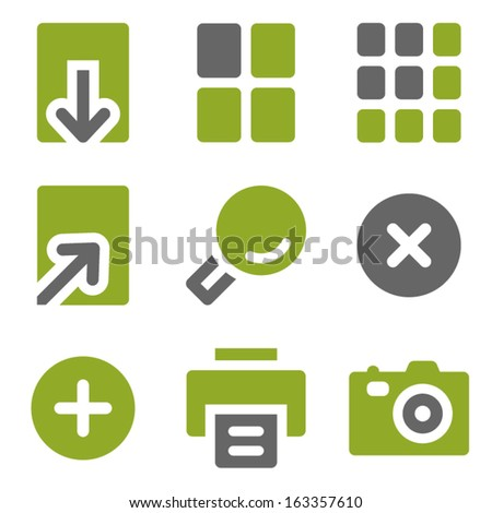Image viewer web icons set, kiwi series - stock vector
