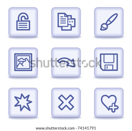Image viewer web icons set 2, light violet glossy buttons - stock vector