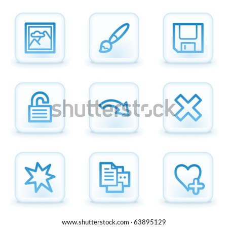 Image viewer web icons set 2, white square buttons