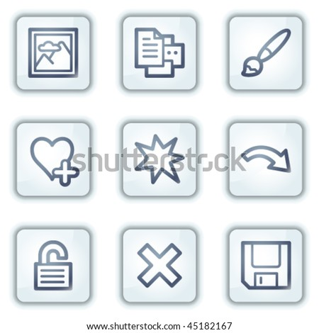 Image viewer web icons set 2, white square buttons series