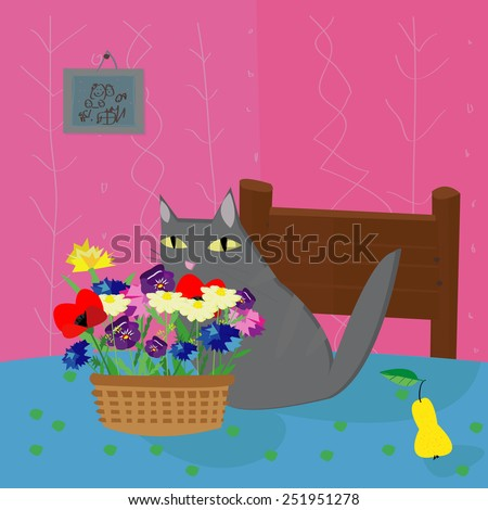 Image with cunning gray cat on the table in the room. Vector illustration. - stock vector