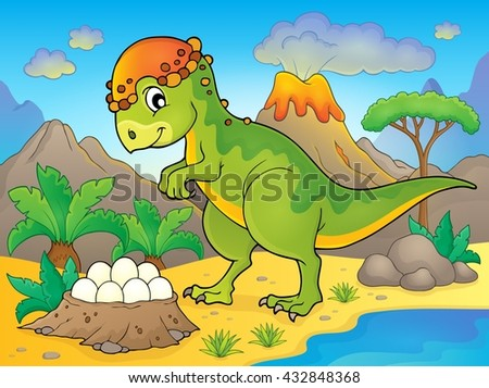 Image with dinosaur thematics 4 - eps10 vector illustration. - stock vector