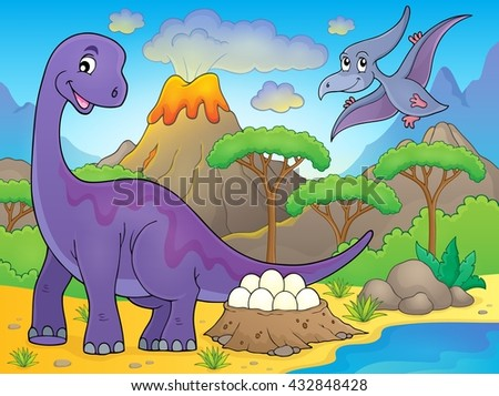 Image with dinosaur thematics 2 - eps10 vector illustration. - stock vector