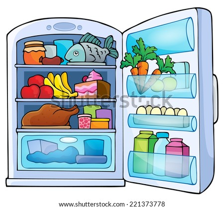 Image with fridge theme 1 - eps10 vector illustration. - stock vector