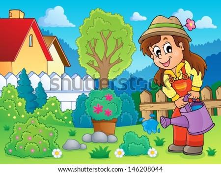 Image with gardener theme 2 - eps10 vector illustration. - stock vector
