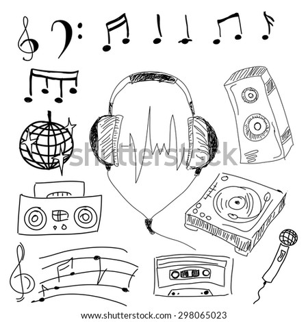 Image with graphic musical stuff on isolated white background. Vector illustration