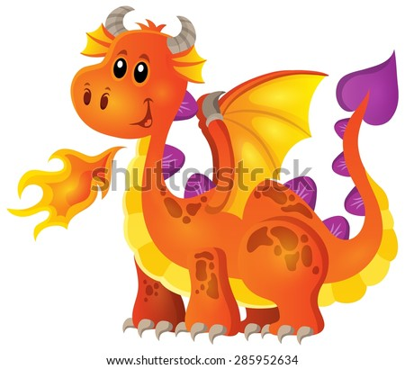Image with happy dragon theme 4 - eps10 vector illustration. - stock vector