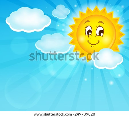 Image with happy sun theme 1 - eps10 vector illustration. - stock vector