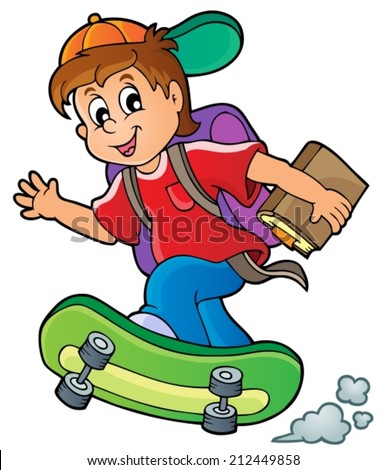 Image with school boy theme 1 - eps10 vector illustration. - stock vector