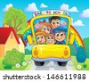 Image with school bus theme 4 - eps10 vector illustration. - stock photo