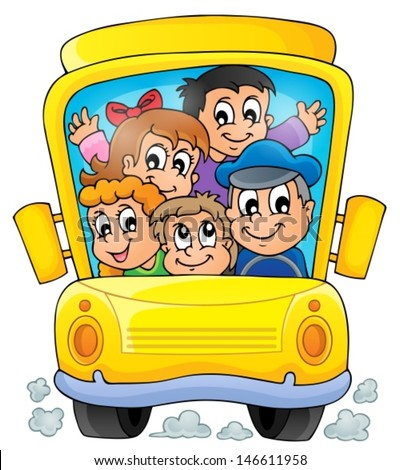 Image with school bus theme 1 - eps10 vector illustration. - stock vector