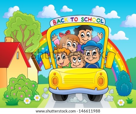 Image with school bus theme 4 - eps10 vector illustration. - stock vector
