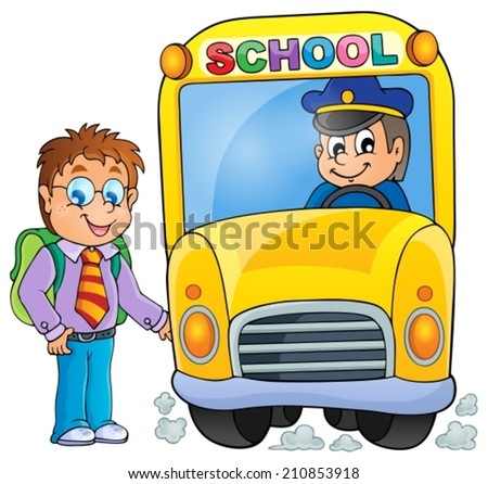 Image with school bus topic 3 - eps10 vector illustration. - stock vector