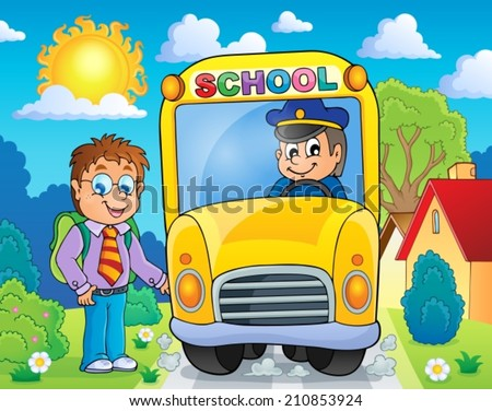 Image with school bus topic 4 - eps10 vector illustration. - stock vector