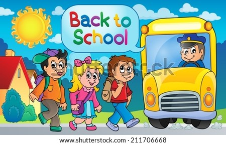 Image with school bus topic 5 - eps10 vector illustration. - stock vector