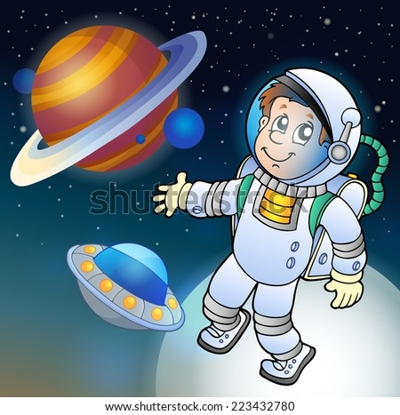 Image with space theme 1 - eps10 vector illustration. - stock vector