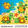 Image with turtle theme 2 - vector illustration. - stock vector