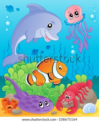 Image with undersea theme 5 - vector illustration. - stock vector