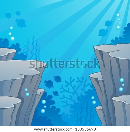 Image with undersea topic 2 - vector illustration. - stock vector