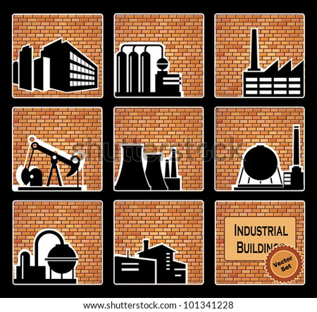 Images of industrial buildings on a brick background