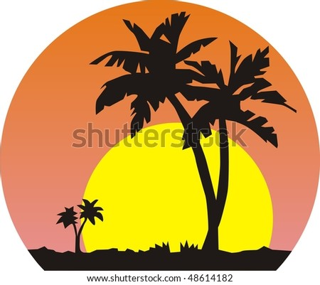 Images of palm trees against the backdrop of a large sun. Vector illustration.