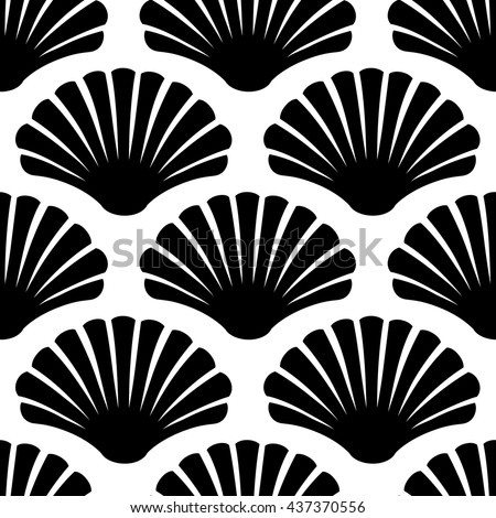 Imaginary Decorative Seashells Modern Graphic Design Vector Black White Seamless Patterns Wallpaper