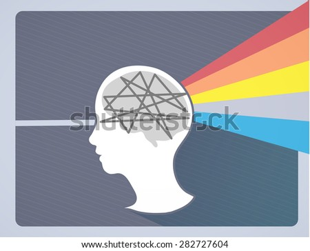 Imagination comes from what you think. - stock vector
