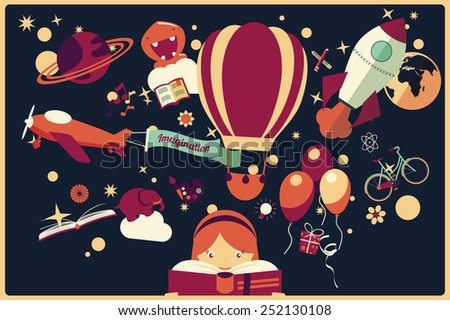 Imagination concept - girl reading a book with air balloon, rocket and airplane flying out, night sky, vector illustration - stock vector