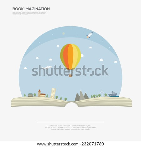 Imagination concept  open book  Vector illustration - stock vector