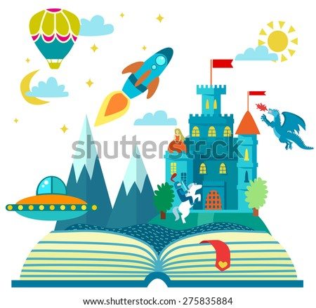 Imagination concept - open book with rocket, castle, dragon, air balloon . vector flat illustration - stock vector