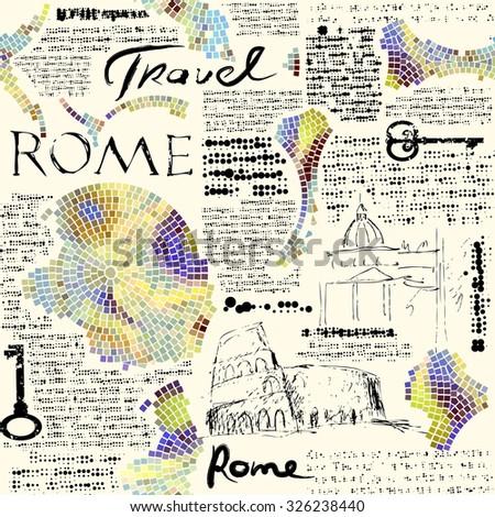 Imitation of retro newspaper background Rome travel. Seamless pattern. - stock vector