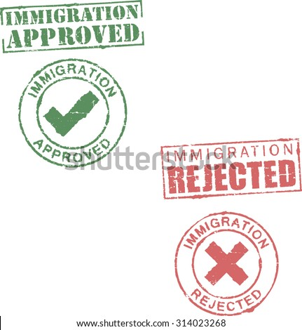 Immigration approved/rejected stamps - stock vector
