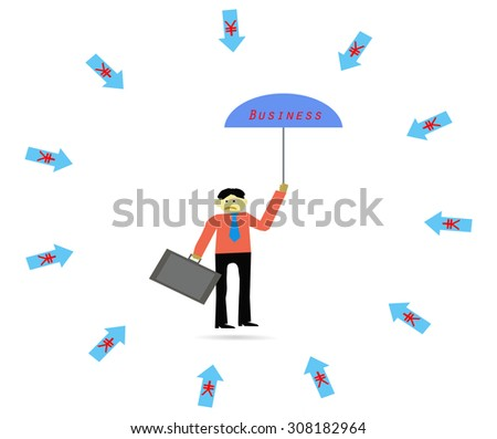 Impact of money chinese (yuan) with business.Vector illustration