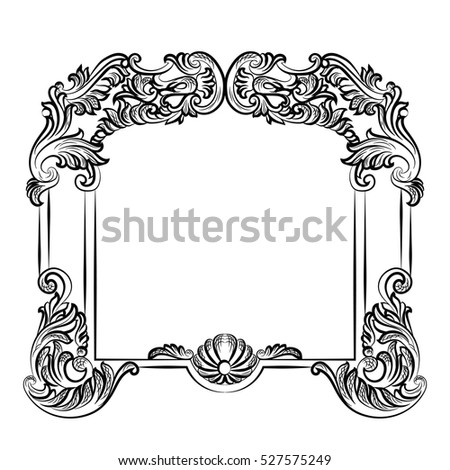 mirror frame drawing. Mirror Frame Drawing. Drawing Imperial Baroque Vector French  Luxury Rich Intricate Ornaments And