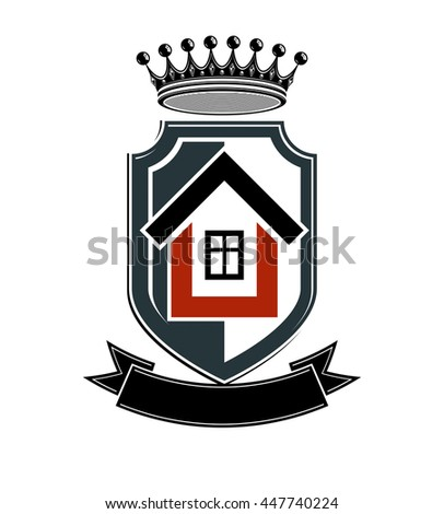 Imperial coat of arms, vector royal house conceptual symbol. Protection shield with 3d king crown. Majestic heraldic design element.  - stock vector