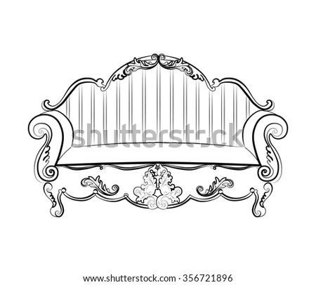 imperial royal sofa classic rococo damask stock vektorgrafik 356721896 shutterstock. Black Bedroom Furniture Sets. Home Design Ideas