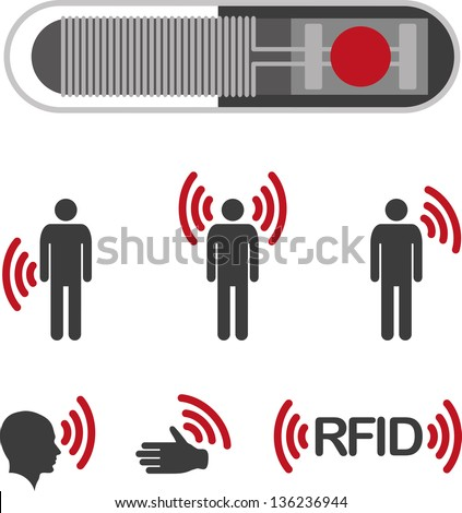 Implantable RFID tag Icon Sign Symbol Pictogram