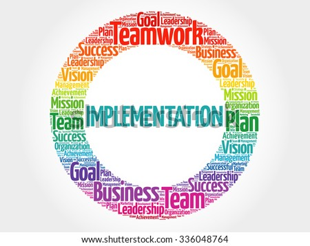 Implementation circle stamp word cloud, business concept - stock vector