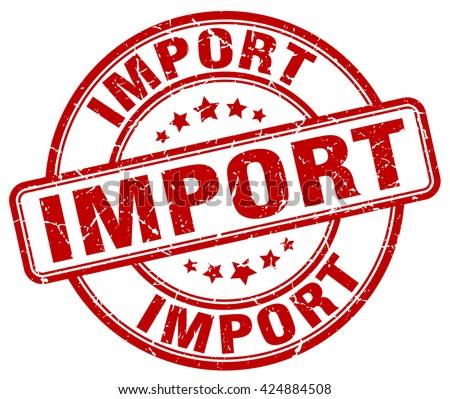 import red grunge round vintage rubber stamp.import stamp.import round stamp.import grunge stamp.import.import vintage stamp. - stock vector