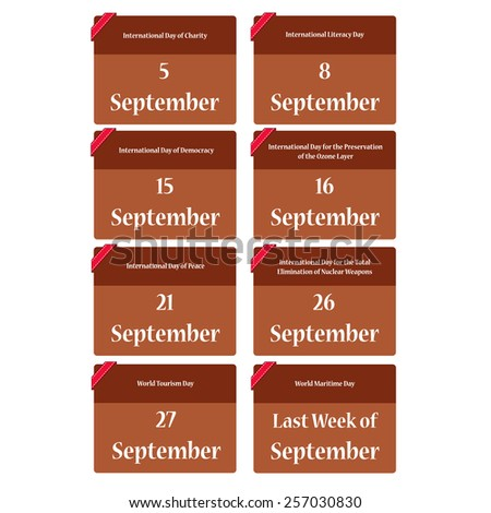 Important dates in September reminder  - stock vector