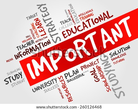 IMPORTANT word cloud, education concept - stock vector